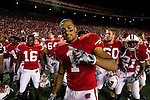 Wisconsin Badgers wide receiver Nick Toon (1) celebrates after an NCAA college football game against the Ohio State Buckeyes on October 16, 2010 at Camp Randall Stadium in Madison, Wisconsin. The Badgers beat the Buckeyes 31-18. (Photo by David Stluka)