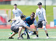 """Washington, DC - APR 22, 2018: Ottawa Outlaws Matt O'Brien (11) and Geoff Bevan (17) defend against DC Breeze Delrico Johnson (3) during AUDL game between DC Breeze and the Ottawa Outlaws. The DC Breeze get the win 26-19 over Ottawa in the Battle of the Capitals"""" at Catholic University Washington, DC. (Photo by Phil Peters/Media Images International)"""
