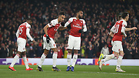 Arsenal's Pierre-Emerick Aubameyang celebrates scoring his side's first goal <br /> <br /> Photographer Rob Newell/CameraSport<br /> <br /> Football - UEFA Europa League Round of 16 Leg 2 - Arsenal v Rennes - Thursday 14th March 2019 - The Emirates - London<br />  <br /> World Copyright © 2018 CameraSport. All rights reserved. 43 Linden Ave. Countesthorpe. Leicester. England. LE8 5PG - Tel: +44 (0) 116 277 4147 - admin@camerasport.com - www.camerasport.com