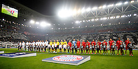Calcio, andata degli ottavi di finale di Champions League: Juventus vs Bayern Monaco. Torino, Juventus Stadium, 23 febbraio 2016. <br /> Juventus and Bayern players line up prior to the start of their Champions League first leg round of 16 football match at Turin's Juventus Stadium, 23 February 2016.<br /> UPDATE IMAGES PRESS/Isabella Bonotto