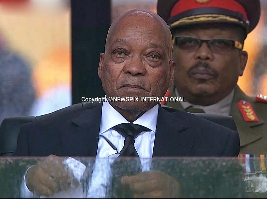 PRESIDENT ZUMA<br /> NELSON MANDELA MEMORIAL<br /> The nation mourns Nelson Rolihlahla Mandela Memorial Service, FNB Stadium, Johannesburg, South Africa<br /> Mandatory Credit Photo: &copy;NEWSPIX INTERNATIONAL<br /> <br /> **ALL FEES PAYABLE TO: &quot;NEWSPIX INTERNATIONAL&quot;**<br /> <br /> IMMEDIATE CONFIRMATION OF USAGE REQUIRED:<br /> Newspix International, 31 Chinnery Hill, Bishop's Stortford, ENGLAND CM23 3PS<br /> Tel:+441279 324672  ; Fax: +441279656877<br /> Mobile:  07775681153<br /> e-mail: info@newspixinternational.co.uk