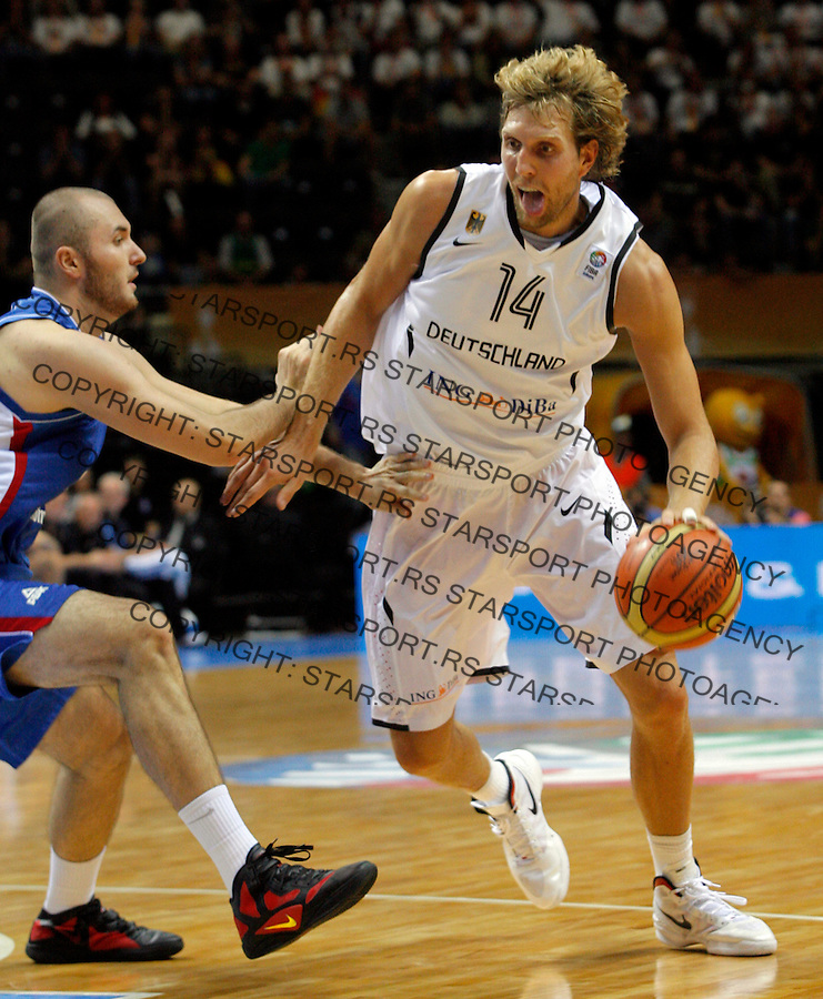 Germany natioanal basketball team player Dirk Nowitzki during round 1, Group B, basketball game between Germany and Serbia in Lithuania, Siauliai, Siauliu arena, Eurobasket 2011, Sunday, September 4, 2011. (photo: Pedja Milosavljevic/STARSPORT)