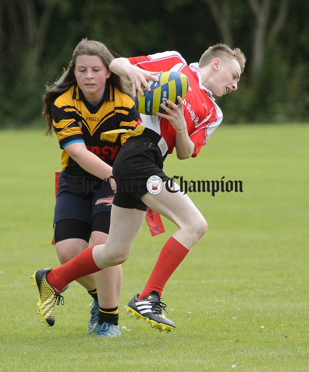 Joe Mc Grath of Killaloe in action during their U-14 Tag Rugby game against Drangan/Clooneen at the Munster Community Games 2016 provincial finals in UL campus. Photograph by John Kelly.