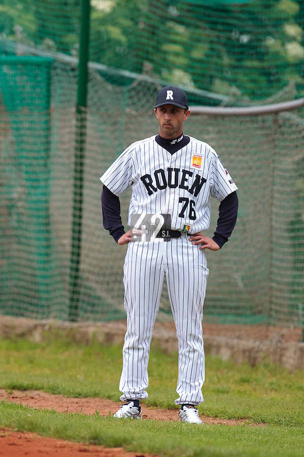 03 June 2010: First base coach Pascal Osmont of Rouen is seen during the 2010 Baseball European Cup match won  8-4 by C.B. Sant Boi over the Rouen Huskies, at the Kravi Hora ballpark, in Brno, Czech Republic.