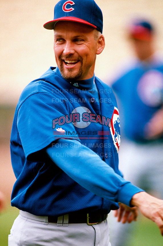 Mark Grace of the Chicago Cubs participates in a Major League Baseball Spring Training game during the 1998 season in Phoenix, Arizona. (Larry Goren/Four Seam Images)