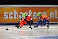 SCHAATSEN: DORDRECHT: Sportboulevard, Korean Air ISU World Cup Finale, 10-02-2012, Remi Beaulieu-Tinker CAN (7), Sjinkie Knegt NED (62), ©foto: Martin de Jong