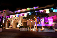 Honolulu Hale, the seat of the city and county government, decorated with Christmas lights in downtown Honolulu, O'ahu.