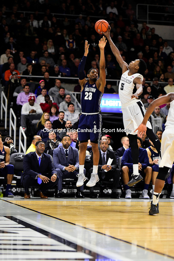 Wednesday, January 4, 2016: Providence Friars forward Rodney Bullock (5) blocks the shot from Georgetown Hoyas guard Rodney Pryor (23) during the NCAA basketball game between the Georgetown Hoyas and the Providence Friars held at the Dunkin Donuts Center, in Providence, Rhode Island. Providence defeats Georgetown 76-70 in regulation time. Eric Canha/CSM