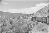 K-28 #475 leading the daily mixed Chili Line train down Barranca Hill.<br /> D&amp;RGW  Barranca Hill, NM  Taken by Small, Charles S. - 1941