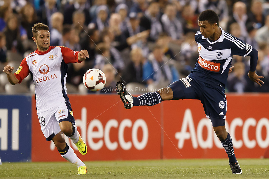 Victory Rashid MAHAZI of the Victory kicks the ball in the round seven match between Melbourne Victory and Adelaide United in the Australian Hyundai A-League 2013-24 season at Etihad Stadium, Melbourne, Australia.<br /> This image is not for sale. Please visit zumapress.com for image licensing.