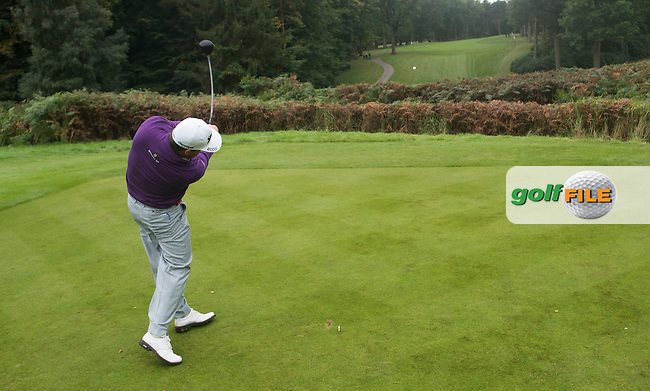 Graeme McDowell of Northern Ireland tees off during a Pro-Am round ahead of the 2015 British Masters at the Marquess Course, Woburn, in Bedfordshire, England on 7/10/15.<br /> Picture: Richard Martin-Roberts | Golffile