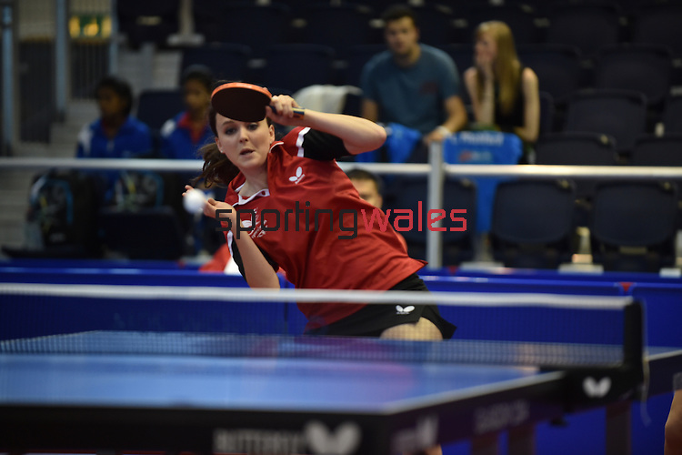 Wales Angharad Philips and Chloe Anna Thomas in action in todays match against Singaport<br /> <br /> Photographer Ian Cook/Sportingwales<br /> <br /> 20th Commonwealth Games - Table Tennis -  Day 9 -  Friday 1st August 2014 - Glasgow - UK
