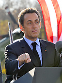 Camp David, MD - October 18, 2008 --  President Nicolas Sarkozy of France, who also serves as this year's rotating President of the European Union (EU), center, makes remarks at the Presidential Retreat near Thurmont, Maryland for talks on Saturday, October 18, 2008.  The two European leaders stopped at Camp David to meet with President Bush to discuss the economy on their way home from a summit in Canada to try to convince Bush to support a summit by year's end to try to reform the world financial system..Credit: Ron Sachs / Pool via CNP
