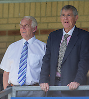 Former Chairman & Current Board Member Ivor Beeks (left) looks on from the stands during the Sky Bet League 2 match between Wycombe Wanderers and Plymouth Argyle at Adams Park, High Wycombe, England on 12 September 2015. Photo by Andy Rowland.