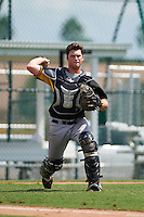 Pittsburgh Pirates Taylor Gushue (18) during an instructional league intrasquad black and gold game on September 23, 2015 at Pirate City in Bradenton, Florida.  (Mike Janes/Four Seam Images)