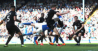 Blackburn Rovers' Darragh Lenihan takes a flying tackle <br /> <br /> Photographer Rachel Holborn/CameraSport<br /> <br /> The EFL Sky Bet League One - Blackburn Rovers v Oxford United - Saturday 5th May 2018 - Ewood Park - Blackburn<br /> <br /> World Copyright &copy; 2018 CameraSport. All rights reserved. 43 Linden Ave. Countesthorpe. Leicester. England. LE8 5PG - Tel: +44 (0) 116 277 4147 - admin@camerasport.com - www.camerasport.com