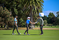 Kunaal Singh (left), Jessica Green and Anthony Ilton-Maher. Day one of the Jennian Homes Charles Tour / Brian Green Property Group New Zealand Super 6's at Manawatu Golf Club in Palmerston North, New Zealand on Thursday, 5 March 2020. Photo: Dave Lintott / lintottphoto.co.nz