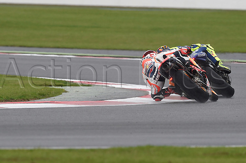 30.08.2015. Silverstone, Northants, UK. OCTO British Grand Prix. Marc Marquez (Repsol Honda)  during the race before spinning off late on the race