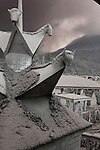 Volcanic ash deposits on roof of shrine from Sinabung Volcano, Indonesia