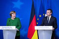 Emmanuel Macron & Angela Merkel - Press conference - EU Summit Brussels