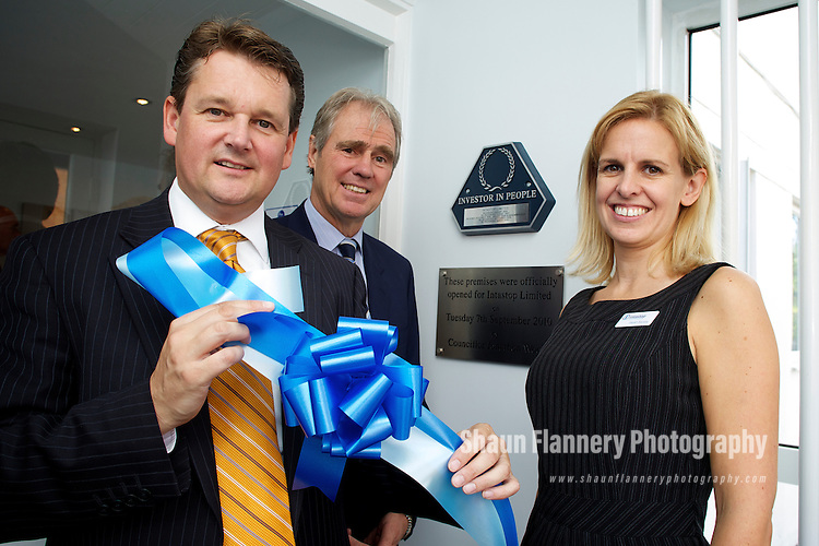 Pix: Shaun Flannery/shaunflanneryphotography.com...COPYRIGHT PICTURE>>SHAUN FLANNERY>01302-570814>>07778315553>>..7th September 2010..........Intastop ltd, a manufacturer of door and wall protection solutions opens it new premises in Doncaster..L-R Cllr Jonathan Wood, Doncaster Councils cabinet member for Business, Planning, Regeneration and New Enterprise, John Hills, Managing Director, Sarah Barsby, Director.