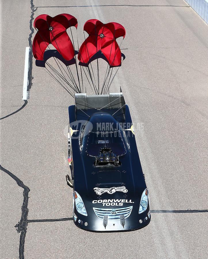 Feb 28, 2016; Chandler, AZ, USA; NHRA funny car driver Terry Haddock during the Carquest Nationals at Wild Horse Pass Motorsports Park. Mandatory Credit: Mark J. Rebilas-