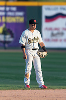 Visalia Rawhide shortstop Jancarlos Cintron (3) during a California League game against the Rancho Cucamonga Quakes on April 9, 2019 in Visalia, California. Visalia defeated Rancho Cucamonga 8-5. (Zachary Lucy/Four Seam Images)