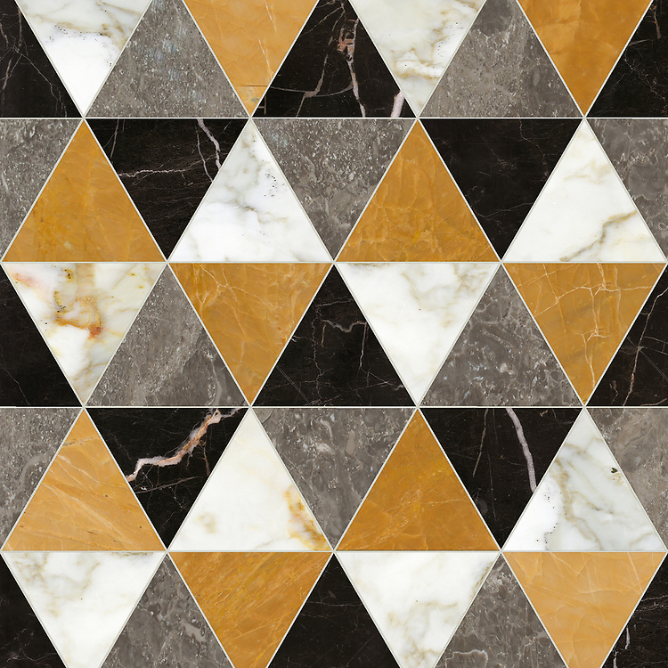 Diamont Grand, a hand-cut stone mosaic, shown in polished Calacatta, Xanadu, Kehena, and Saint Laurent, is part of the Semplice® collection for New Ravenna.