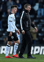 Bolton Wanderers' manager Phil Parkinson walks off the pitch at the end of the match ahead of Derby County's hat-trick scorer Mason Mount <br /> <br /> Photographer Andrew Kearns/CameraSport<br /> <br /> The EFL Sky Bet Championship - Derby County v Bolton Wanderers - Saturday 13th April 2019 - Pride Park - Derby<br /> <br /> World Copyright &copy; 2019 CameraSport. All rights reserved. 43 Linden Ave. Countesthorpe. Leicester. England. LE8 5PG - Tel: +44 (0) 116 277 4147 - admin@camerasport.com - www.camerasport.com