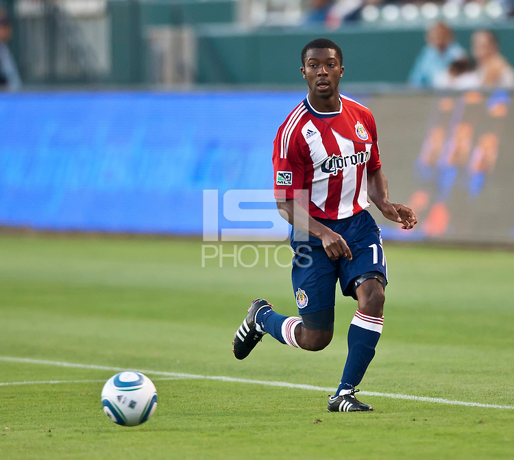 CARSON, CA – July 23, 2011: Chivas USA midfielder Michael Lahoud (11) during the match between Chivas USA and Houston Dynamo at the Home Depot Center in Carson, California. Final score Chivas USA 3, Houston Dynamo 0.