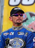 Sep 13, 2013; Charlotte, NC, USA; NHRA funny car driver Jack Beckman during qualifying for the Carolina Nationals at zMax Dragway. Mandatory Credit: Mark J. Rebilas-