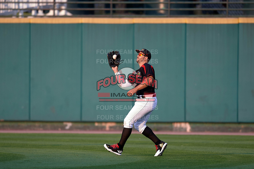 Rochester Red Wings right fielder Daniel Palka (37) catches a fly ball during a game against the Buffalo Bisons on August 25, 2017 at Frontier Field in Rochester, New York.  Buffalo defeated Rochester 2-1 in eleven innings.  (Mike Janes/Four Seam Images)