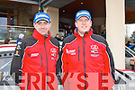 Castleisland's Alan Ring (left) and his navigator Adrian Deasy outside the Carlton hotel, Tralee last Sunday after winning the Group N category at the Circuit of Kerry car rally.