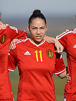 20150307 - TUBIZE , BELGIUM : Belgian Lola Wajnblum pictured during the friendly female soccer match between Women under 19 teams of  Belgium and Czech Republic . Saturday 7th March 2015 . PHOTO DAVID CATRY