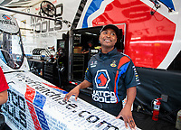 Jul 20, 2018; Morrison, CO, USA; NHRA top fuel driver Antron Brown during qualifying for the Mile High Nationals at Bandimere Speedway. Mandatory Credit: Mark J. Rebilas-USA TODAY Sports