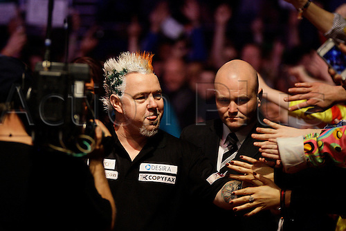 27.03.2014, Dublin Ireland,  Peter Wright arrives for his match against Michael Van Gerwen  PDC Darts Premier League from the O2 Arena, Dublin, Ireland