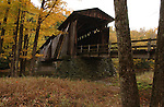 Halls Mills Covered Bridge over the Neversink River near Claryville, NY on  October 10, 2004. It is a Town Lattice Truss bridge spanning 119 feet built in 1912. Photo by Jim Peppler. Copyright Jim Peppler/2004.
