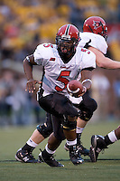 06 September 2008: Southeast Missouri State quarterback Houston Lillard #5 makes a handoff during the first quarter at Memorial Stadium in Columbia, Missouri. The Tigers won 52-3.