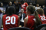 23 March 2015: Ohio State head coach Kevin McGuff talks to his team during a timeout. The University of North Carolina Tar Heels hosted the Ohio State University Buckeyes at Carmichael Arena in Chapel Hill, North Carolina in a 2014-15 NCAA Division I Women's Basketball Tournament second round game. UNC won the game 86-84.