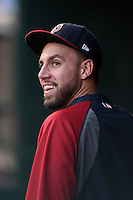 Pawtucket Red Sox pitcher Matt Barnes (34) in the dugout during a game against the Buffalo Bisons on August 26, 2014 at Coca-Cola Field in Buffalo, New  York.  Pawtucket defeated Buffalo 9-3.  (Mike Janes/Four Seam Images)