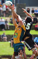 Luke Jones and Blade Thomson compete for lineout ball during the International rugby match between New Zealand Secondary Schools and Suncorp Australia Secondary Schools at Yarrows Stadium, New Plymouth, New Zealand on Friday, 10 October 2008. Photo: Dave Lintott / lintottphoto.co.nz