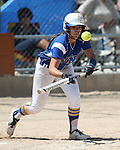 Wildcats' Kelsie Callahan bunts for a single against College of Southern Nevada at Edmonds Sports Complex Carson City, Nev., on Saturday, May 2, 2015.<br /> Photo by Cathleen Allison