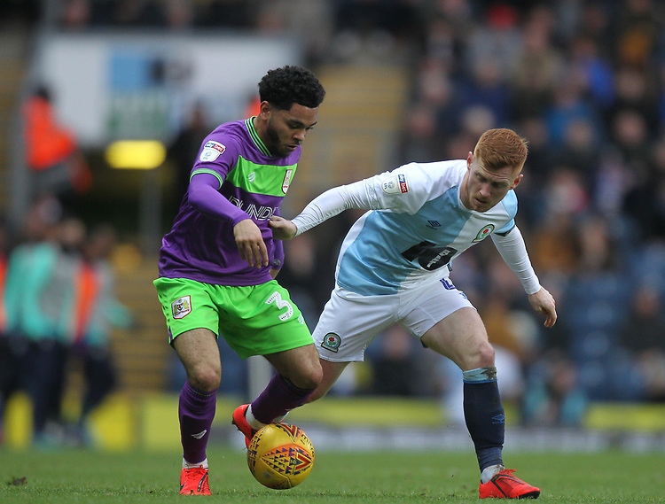 Blackburn Rovers Harrison Reed battles with  Bristol City's Jay Dasilva<br /> <br /> Photographer Mick Walker/CameraSport<br /> <br /> The EFL Sky Bet Championship - Blackburn Rovers v Bristol City - Saturday 9th February 2019 - Ewood Park - Blackburn<br /> <br /> World Copyright &copy; 2019 CameraSport. All rights reserved. 43 Linden Ave. Countesthorpe. Leicester. England. LE8 5PG - Tel: +44 (0) 116 277 4147 - admin@camerasport.com - www.camerasport.com