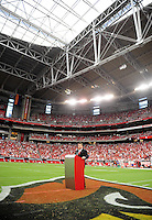 Sept. 13, 2009; Glendale, AZ, USA; Arizona Cardinals team president Michael Bidwill speaks to the fans prior to the NFC Champion banner being unveiled before the game against the San Francisco 49ers at University of Phoenix Stadium. San Francisco defeated Arizona 20-16. Mandatory Credit: Mark J. Rebilas-