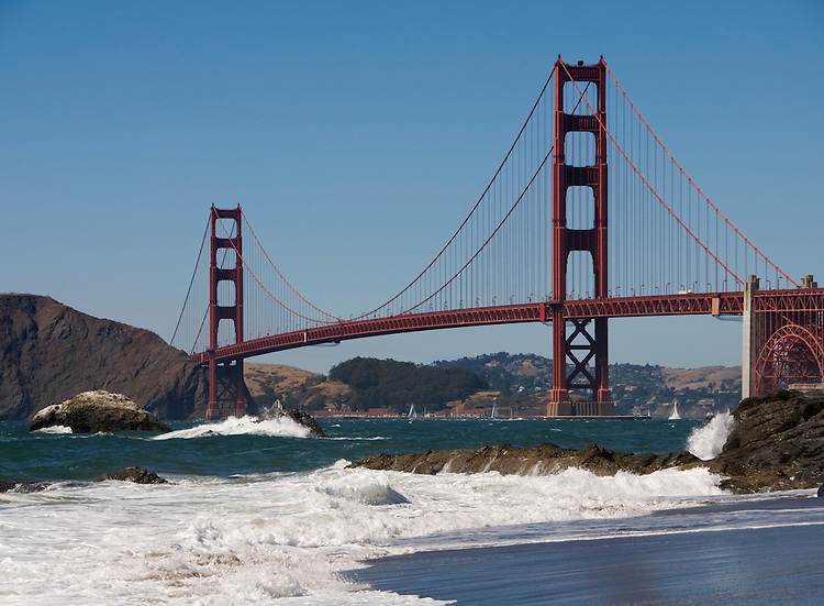 California, San Francisco: Golden Gate Bridge from Baker Beach.Photo #: 2-cover-casanf83341.Photo © Lee Foster 2008