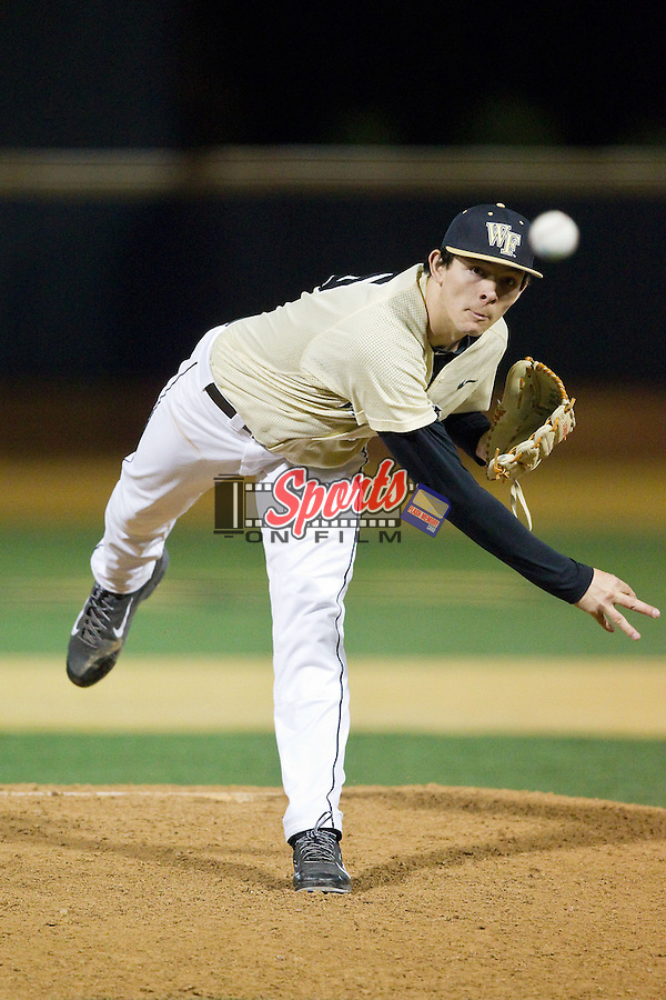 Wake Forest Demon Deacons relief pitcher John McCarren (45) in action against the Cincinnati Bearcats at Wake Forest Baseball Park on February 21, 2014 in Winston-Salem, North Carolina.  The Bearcats defeated the Demon Deacons 5-0.  (Brian Westerholt/Sports On Film)