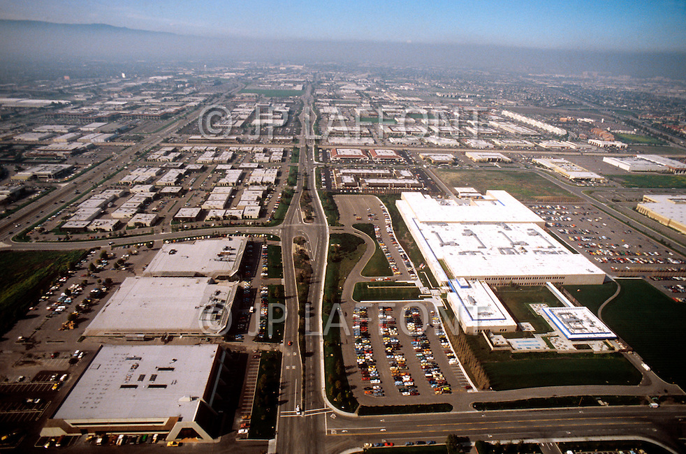 Silicon Valley, California - February 1983. An aerial view of Silicon Valley, the largest high-tech manufacturing center in the United States, and is most famous for innovations in software and Internet services.