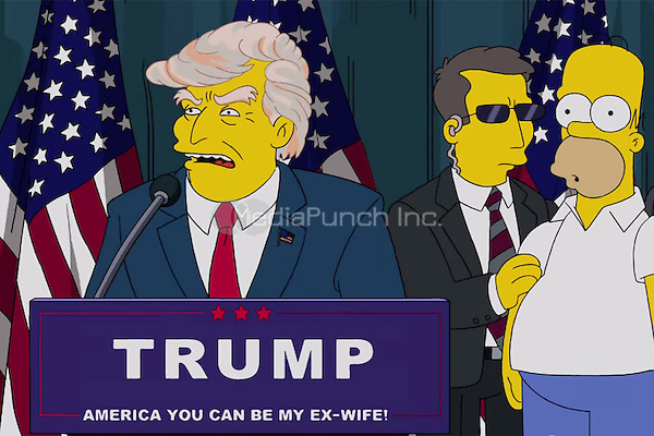 Donald Trump and Homer Simpson<br /> 'Bart to the Future' episode of 'The Simpsons' in 2000<br /> *Screenshot - Editorial Use Only*<br /> CAP/PLF<br /> Supplied by Capital Pictures /MediaPunch ***NORTH AND SOUTH AMERICAS ONLY*** ***EDITORIAL USE ONLY***
