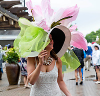 LOUISVILLE, KY - MAY 06: A woman wears a fancy hat on Kentucky Derby Day at Churchill Downs on May 6, 2017 in Louisville, Kentucky. (Photo by Jesse Caris/Eclipse Sportswire/Getty Images)