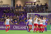 Orlando, FL - Saturday August 05, 2017: Chicago Red Stars celebrate a goal during a regular season National Women's Soccer League (NWSL) match between the Orlando Pride and the Chicago Red Stars at Orlando City Stadium.